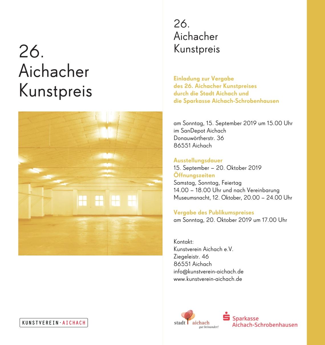 26. Aichacher Kunstrpeis  15.09.-20.10.2019